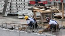 File photo of construction work being done on a condominium site in Toronto. (Deborah Baic/Deborah Baic/The Globe and Mail)