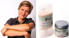 Karen Kerk-Courtney, founder of Bare Organics, and her best-selling product, the deodorant. (Bare Organics)