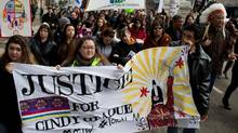 Protesters march against the acquittal of Bradley Barton in the death of Cindy Gladue in Edmonton, Alta., on April 2, 2015. (AMBER BRACKEN For The Globe and Mail)