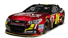 "Jeff Gordon's new ""Gen-6"" No. 24 Drive to End Hunger Chevy SS show car. The new car is called Gen-6 because it's the sixth redesign of the top-tier NASCAR racer."