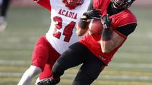 Laval University Rouge et Or's Yannick Morin-Plante catches the football for a first down against Acadia University Axemen during the first half of their Uteck Cup college game at Laval University in Quebec City, November 17, 2012. (MATHIEU BELANGER/REUTERS)