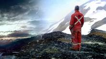In this still from Koneline: Our Land Beautiful, a diamond driller and sunrise are pictured over Northwest BC.