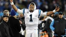 Carolina Panthers' quarteback Cam Newton celebrates after the NFC Championship game against the Arizona Cardinals on, Sunday, Jan. 24, 2016. (Mike McCarn/AP)