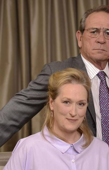 Tommy Lee Jones and Meryl Streep do not look impressed, and with good reason: Caption Writing Person is away this week. Caption Writing Intern, though, is here to entertain you with photos of celebrities. Oh, cheer up, Tommy Lee, it's not like we just forced you to watch Small Soldiers or anything. (KEITH BEDFORD/REUTERS)