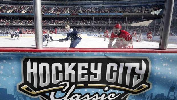 Notre Dame Fighting Irish plays against the Miami Redhawks during their NCAA mens' Hockey City Classic hockey game at Soldier Field in Chicago, Illinois, February 17, 2013. It is the first time a college hockey game has been played on the outdoor field. (JIM YOUNG/REUTERS)