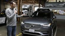 Anthony Levandowski, head of Uber's self-driving program, speaks about their driverless car in San Francisco on Dec. 13, 2016. (Eric Risberg/AP)