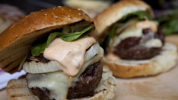 Celebrate Father's Day with burgers topped with spiked mayo and aged ...