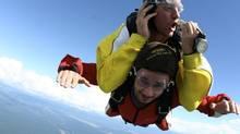 Tandem skydiving over Lake Taupo.