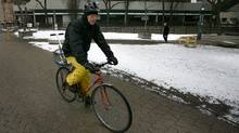 Globe and Mail columnist Marcus Gee rides his bike at Nathan Phillips Square recently (Fernando Morales/Fernando Morales/The Globe and Mail)