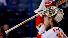 Calgary Flames starting goalie Karri Ramo will miss the rest of the season with a torn knee ligament. (Kirk Irwin/Getty Images)