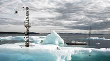 Concept art for the Primitive Future Project: A vertical cave in Nunavut. By architect Reza Aliabadi.