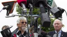 David Suzuki, left, and former Conservative fisheries minister John Fraser attend a news conference where they and other environmental groups spoke out against the federal budget bill C-38 in Vancouver, Monday, June 4, 2012. (Jonathan Hayward/The Canadian Press)