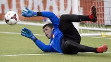 Montreal Impact goaltender Maxime Crepeau works out as the team opens its pre-season training camp at Olympic Stadium Friday, January 23, 2015 in Montreal. The Montreal Impact may have an important weapon in their bid to reach the MLS Cup final: the hard, unpredictable artificial turf at Olympic Stadium. (Ryan Remiorz/THE CANADIAN PRESS)