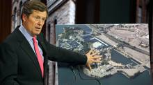 John Tory, chair of CivicAction, announces the Ontario Place revitalization plans for the now closed park. (Deborah Baic/The Globe and Mail)