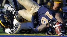 Winnipeg Blue Bombers' Chris Garrett (19) dives into the end zone over Hamilton Tiger-Cats' Renauld Williams for a touchdown during the second half of their CFL Eastern final football game in Winnipeg, Manitoba, November 20, 2011. The Bombers won 19-3 and advanced to the Grey Cup. REUTERS/Todd Korol (Todd Korol/Reuters)