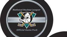 New NHL puck and the new Anaheim Mighty Ducks puck. NHL.com (Chip Douglas/NHL.com)