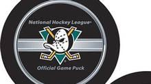 New NHL puck and the new Anaheim Mighty Ducks puck. NHL.com (Chip Douglas/NHL.com)