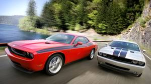 2010 Dodge Challenger R/T Classic (left) and 2010 Dodge Challenger SE Rallye (right)