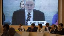 Brazilian diplomat Paulo Sergio Pinheiro delivers the report of the Independent Commission of Inquiry on Syria during to the Human Rights Council at the United Nations in Geneva, Switzerland, Monday, Sept. 17, 2012. (Anja Niedringhaus/AP)