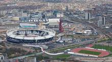 An aerial view of Olympic Stadium and the warm up track for the London 2012 Olympic Games. (Anthony Charlton/Anthony Charlton/AP)