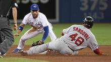 Pablo Sandoval of the Boston Red Sox is caught stealing second base in the fourth inning of a game against the Toronto Blue Jays at the Rogers Centre in Toronto, on April 18, 2017. (Tom Szczerbowski/Getty Images)