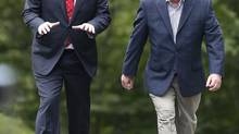 Canada's Prime Minister Stephen Harper, left, and the mayor of Quebec City, Regis Labeaume, walk on Gilmour Hill in Quebec City, Que. Aug. 2, 2013. (MATHIEU BELANGER/REUTERS)