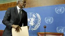 UN-Arab League mediator Kofi Annan leaves after a news conference at the United Nations in Geneva, August 2, 2012. (Denis Balibouse/Reuters)