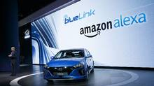 Mark Dipko, director of corporate planning and strategy for Hyundai Motor America, introduces a partnership with Amazon Alexa for the 2017 Hyundai Motor Co. (Patrick T. Fallon/Bloomberg)