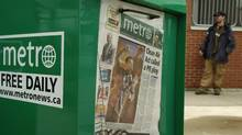 Metro newspaper boxes photographed at the Oakville GoTrain Station in Oakville, Ont. (Kevin Van Paassen/Kevin Van Paassen/The Globe and Mail)