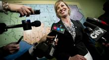 Councillor Karen Stintz, shown while registering for the Toronto mayoral race on Monday, Feb. 24, 2014, said on Wednesday, April 30, 2014, that some members of her campaign team may have shifted roles. (Kevin Van Paassen/The Globe and Mail)