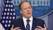 White House Press Secretary Sean Spicer conducts the daily press briefing at the White House March 31, 2017 in Washington, DC. (Chip Somodevilla/Getty Images)