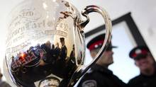The Grey Cup arrived at Toronto City Hall on Nov. 16, 2012. (Peter Power/The Globe and Mail)