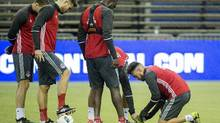 Toronto FC players inspect Olympic Stadium's artificial turf during a training session in Montreal on Nov. 21, 2016. (Graham Hughes/The Canadian Press)