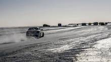 Sliding on Lake Winnipeg during the Mercedes-AMG Driving Academy in Gimly, Man. (Brendan McAleer/The Globe and Mail)