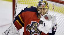 Florida Panthers goalie Mark Markstrom stops a Boston Bruins' shot on goal during the first period of an NHL hockey game in Sunrise, Fla., Sunday, Feb. 24, 2013. (Associated Press)