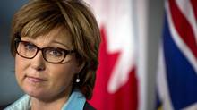 FILE PHOTO: British Columbia Premier Christy Clark during a news conference in Vancouver September 24, 2012 following the resignation of her chief of staff. (John Lehmann/The Globe and Mail)