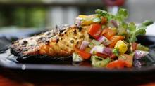 Grilled salmon with pepper salsa. (Tory Zimmerman/Tory Zimmerman for The Globe and Mail)