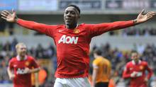 Manchester United's Danny Welbeck celebrates scoring against Wolverhampton Wanderers during their English Premier League soccer match at Molineux in Wolverhampton in central England. (TOBY MELVILLE/Reuters)