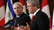 Prime Minister Stephen Harper speaks during a news conference with Israeli Prime Minister Benjamin Netanyahu on Parliament Hill on March 2, 2012. (CHRIS WATTIE/REUTERS)