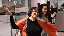 Iranian-Canadian professor Homa Hoodfar smiles as she arrives in Montreal on Thursday, Sept. 29, 2016. The retired anthropology professor spent nearly four months in prison in Iran. (Ryan Remiorz/THE CANADIAN PRESS)