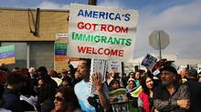 People protest outside of the Elizabeth Detention Center during a rally attended by immigrant residents and activists on February 23, 2017 in Elizabeth, New Jersey. (Spencer Platt/Getty Images)