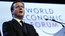 Britain's Prime Minister David Cameron speaks during the annual meeting of the World Economic Forum (WEF) in Davos January 24, 2013. (PASCAL LAUENER/REUTERS)