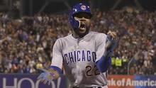Chicago Cubs' Jason Heyward celebrates after scoring during the ninth inning of Game 4. (Marcio Jose Sanchez/AP)