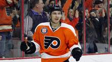 Philadelphia Flyers' Brayden Schenn reacts after scoring during the second period of an NHL hockey game against the Calgary Flames on Monday, Feb. 29, 2016 in Philadelphia. (Tom Mihalek/AP)
