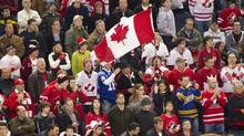 Team Canada fans make their presence felt during third period World Junior Hockey action between Canada and Russia in Buffalo, NY, on Sunday, December 26, 2010. (Frank Gunn)