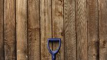This photo has different textures in it and the shovel's blue handle contrasts with the weathered wooden siding. (Fred Lum/The Globe and Mail/Fred Lum/The Globe and Mail)