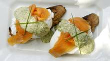 Poached eggs with chive remoulade and smoked salmon. (Tibor Kolley/Tibor Kolley/The Globe and Mail)