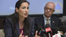 Chantal Morissette, director of water services for the city of Montreal, speaks at a news conference on May 23, 2013, with Christian Dubois, the city councillor with responsibility for public safety. (GRAHAM HUGHES FOR THE GLOBE AND MAIL)