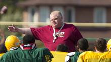 Toronto Mayor Rob Ford coaching the Don Bosco High School Eagles in Toronto on Sept. 11. (Peter Power/The Globe and Mail)