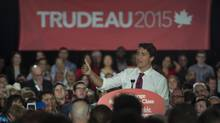 Liberal leader Justin Trudeau addresses a rally in Edmonton on Wednesday, Sept, 9, 2015. (JONATHAN HAYWARD/THE CANADIAN PRESS)